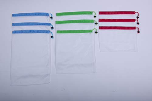 Premium Reusable Mesh Produce Bags See Through Machine Wash Recycle Biodegrable 9 Pack S002