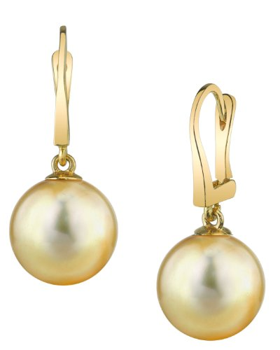 14K Gold Golden South Sea Cultured Pearl Classic Elegance Earrings