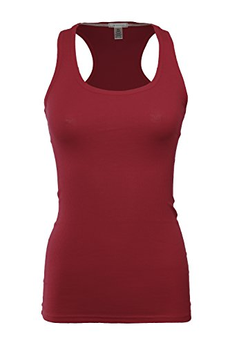 RT1165Basic Ribbed Racerback Long Tank Top Burgundy Small