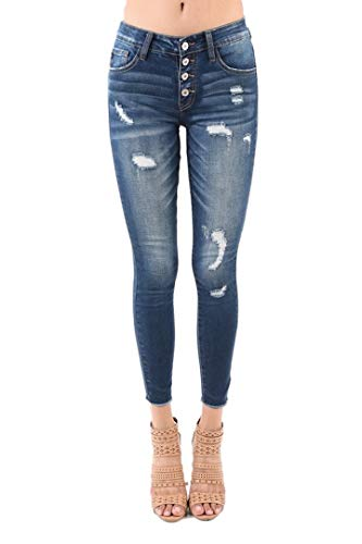 - KanCan Sharon-Adradne Button Fly Mid Rise Distressed Ripped Ankle Skinny Jeans KC5029D (29/11)