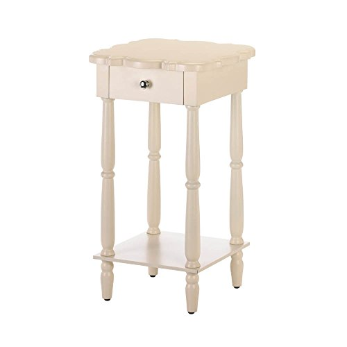Wood Side Table, Vintage High Side Tables With Drawers, Chatham White Side - Living Chair Chatham Room