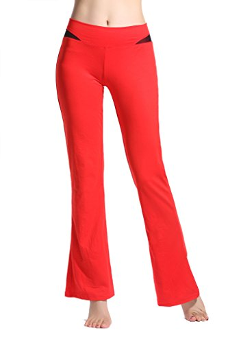 lotsyle-womens-fitness-trousers-waist-mesh-splicing-yoga-leggings-boot-cut-pants-red-xl