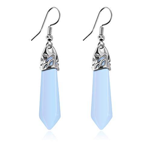 Stone Crystal Dangle Drop Earrings Teardrop/Oval Stylish Jewelry for Women Ladies Girls (Opal(Diamond Column))