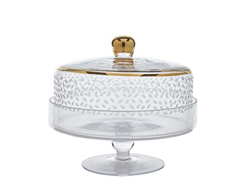 Glazze Crystal Luxury Handcrafted Sophisticated Pedestal Cake Plate with Glass Dome   Hand Painted Real 24K Gold Trim Detailing   Hand Cut Raindrops Pattern   Classy Gift Idea For Any occasion