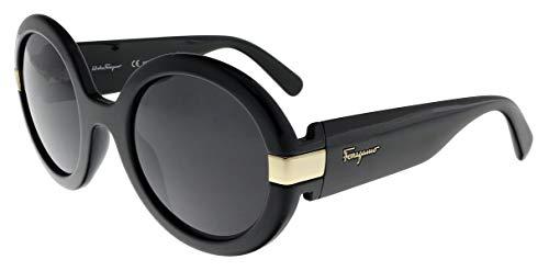 (Salvatore Ferragamo Women's Gancino Round Sunglasses, Black/Grey, One Size)