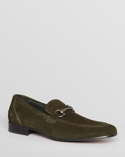 Salvatore Ferragamo Men's Tapas Green Suede Loafers (10.5)