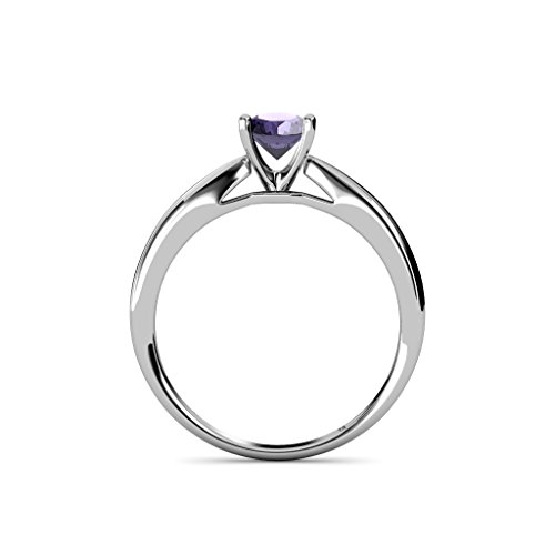 Iolite Solitaire Ring 0.95 ct in 14K White Gold