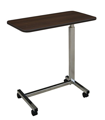 Medline Overbed Bedside Table with Wheels for home, nursing home, assisted living, or hospital use (Wood Medline)