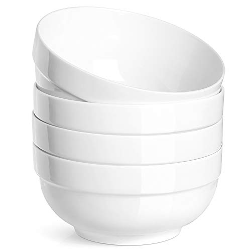 (DOWAN 22 Ounces Porcelain Soup, Cereal Bowls with Rim, 4 Packs, Non Slip, White)
