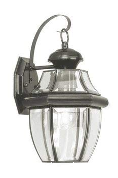 Traditional Finish Brass - Livex Lighting 2151-04 Monterey 1 Light Outdoor Black Finish Solid Brass Wall Lantern with Clear Beveled Glass