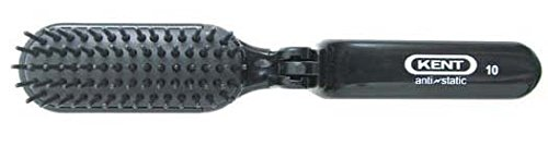 - Kent AS10 Folding Hair Brush with Rubber Pad, Nylon Quill, Anti-Static - Travel/Purse Size