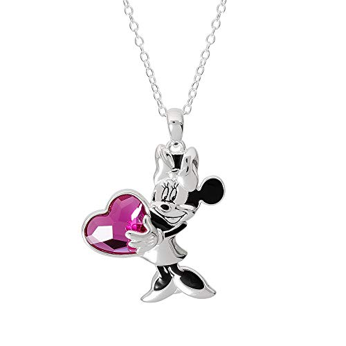 "Disney Minnie Mouse Jewelry for Women and Girls, Silver Plated Minnie Pendant with Crystal Heart Necklace, 18"" Chain, Mickey's 90th Birthday ()"