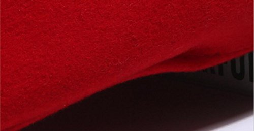 Queenestar Australian Wool Beret Hat Cap For Women Plain Winter Warm Beret Caps (Red) by Queenestar (Image #2)