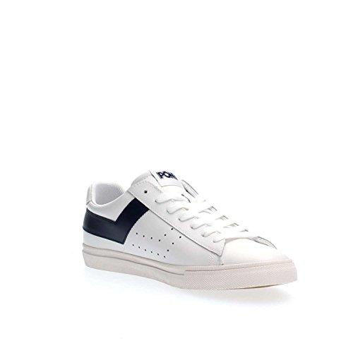 Sneaker Pony in pelle bianca e blu navy Blanco / azul
