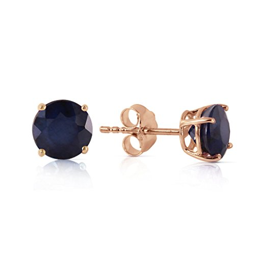 14K Rose Gold Round Natural Blue Sapphires Stud Earrings ()