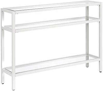 Henn Hart Industrial Sofa, 3-Tier Open Shelf Entryway Hallway Living Room, Multiple Colors Sizes Console Table, 42 , White
