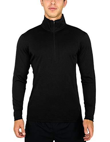 Woolx Mens Explorer 1/4 Zip Midweight Merino Wool Base Layer Top , Black, Large