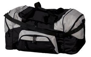 Port & Company Colorblock Sport Duffel, Black/Grey