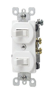 Leviton 5241-W 15 Amp, 120/277 Volt, Duplex Style Single-Pole/3-Way Ac Combination Switch, Commercial Grade, White - 3 Way Wall
