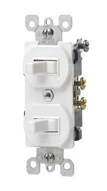 Leviton 5241-W Light Switch, Duplex Combination Switch, 3-Wa