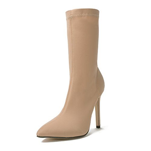 ZHZNVX The new high-heeled shoes in the spring stretch boots fine and boots with. apricot S3oBl9