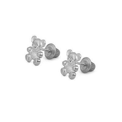 14K White Gold Teddy Bear Screw Back Stud Earrings For Little Girls by Loveivy