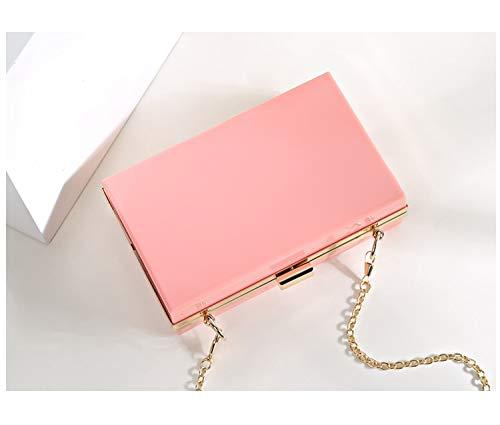 monnaie bandoulière chaîne simple acrylique blanc couleurs 4 mini femmes main occasionnel mode sac à sac sac à partie soir main rabat porte sac Rose du Pnizun Hn0wYCqdq