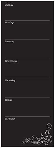 Wallies Vinyl Wall Decals, Peel and Stick Weekly Calendar Chalkboard Wall Decal, 9'' x 25''