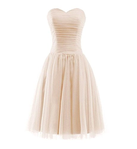 Women's Sweetheart Strapless Short Tulle Bridesmaid A-line Prom Dresses Khaki 8 (Bridesmaid Dresses Khaki)