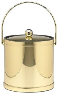 Kraftware Mylar Polished Brass 3-Quart Ice Bucket with Bale Handle, Bands and Metal Cover Metal 3 Qt Ice Bucket