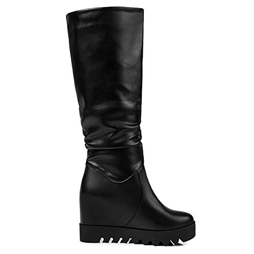 5 On Heel Wedge Half Women's Black Pull Boots Taoffen wvfS8p