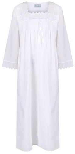 da manica the1foru camicia da lunghezza Bianco vittoriano Camicia donna notte 3 notte 4 100 da Cotone Laura wrxqrP7