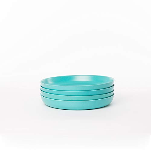 EKOBO Kids Bamboo 7'' Plate Set, 4 Pack, Small, BIOBU Eco-material, Blue (Lagoon)