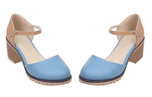 Aalardom Mélangées Correct Boucle Légeres Chaussures Tsfdh007883 Couleurs Talon Bleu À Femme rqXwxprf