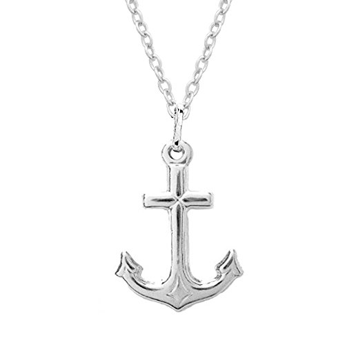 Ritastephens Sterling Silver Shiny Mariner Cross Anchor Charm Pendant Necklace 20 Inches