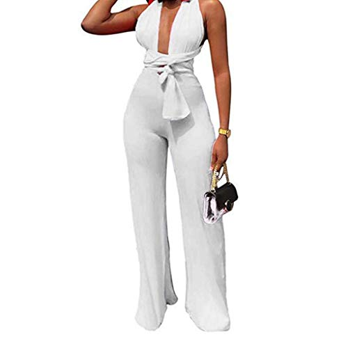 Cenglings Women Sexy Halter Deep V Neck Sleeveless Solid Lace-up Wide Leg Pants Tie Back Backless Jumpsuits Party Rompers White