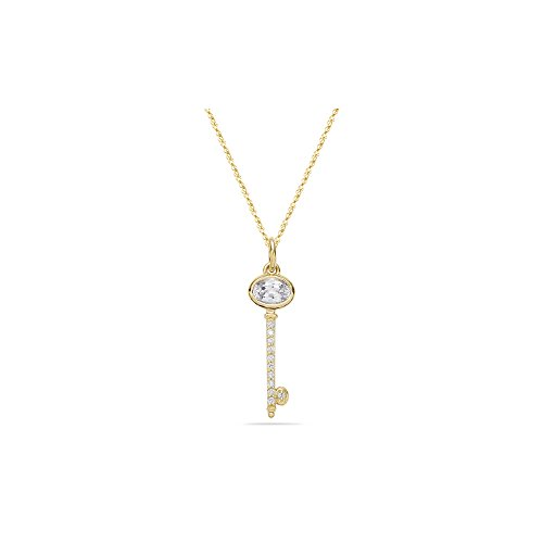 0.11 Cts Diamond & 0.95 Cts White Sapphire Key Pendant in 14K Yellow Gold