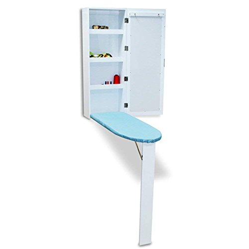 OfficeWinner Wall Mount Ironing Board Cabinet MDF wood with Mirror and Storage Shelves, Fold Away,...