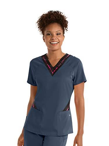 Grey's Anatomy Active GVST017 Women's Zip Text Scrub Top Steel/Ga Pink Pop Print M