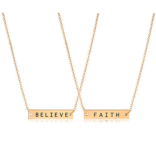 CEALXHENY 3PC Layered Bar Pendant Necklaces Boho Stick Bar Choker Necklace Minimalist Y Necklaces for Women Girls (H 2PC Gold) ()