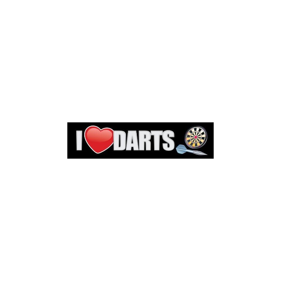 I Love Darts Bumper Sticker   Dart Bumper Sticker Decal