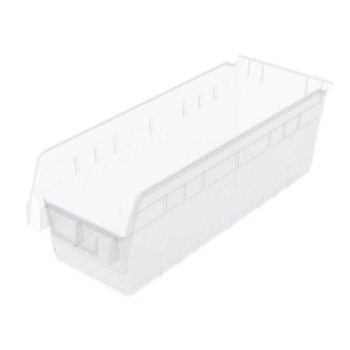 (Akro-Mils 30098 18-Inch L by 6.75 -Inch W by 6-Inch H Clear ShelfMax Plastic Nesting Shelf Bin Box, 10-Pack)