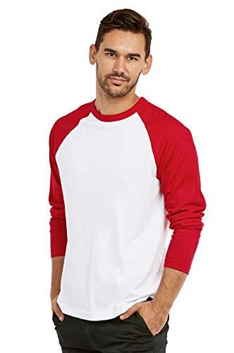 Men's Full Length Sleeve Raglan Cotton Baseball Tee Shirt (L, Red/White)