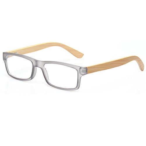 Temples Frame Gray - Reading Glasses Quality Men and Women Readers With Sun Readers Bamboo Temples Eyeglasses (Gray Frame Clear Lens, 2.0)