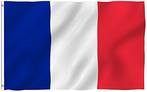 Polyester French Flag Vivid Color and Fade Resistant Well Stiched National Flag France Country Banner with Metal Grommets for Home Garden Indoor Outdoor, 3 x 5 Ft -