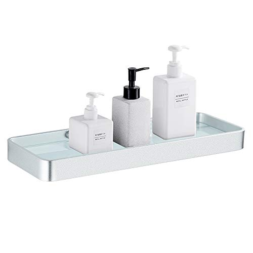 BESy Bathroom Lavatory Glass Shower Shelf, Heavy Duty Aluminum with Tempered Glass 1 Tier Storage Floating Shelves, Square Style, Wall Mounted Glass Shelf, Dull Polished Silver
