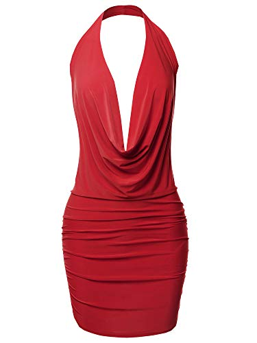 (Sexy Halter Neck Ruched Bodycon Backless Party Cocktail Mini Dress Red M)