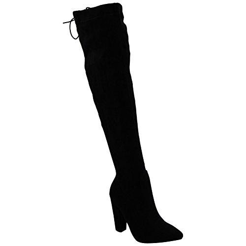 Haut Genou Noir Des Sur Partie Femmes Dames La Chaussures Bottes Stretch De Faux Du Suède Taille Cuisse Des BqwSaFxvqt