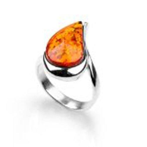 Sterling Silver Teardrop Shaped Cognac Amber Ring, Size 6, 7, 8, (Shaped Cognac)