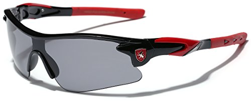 (Half Frame Kids Teen Age 8-16 Performance Baseball Cycling Running Sport Sunglasses - Black & Red)